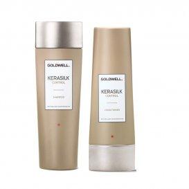 Комплект Шампоан и Балсам за плътна и къдрава коса Goldwell Kerasilk Control