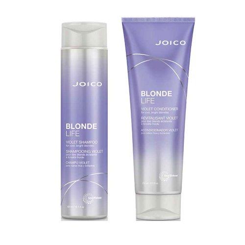 Комплект за Виолетов шампоан и Балсам за руса коса без сулфати  Joico Blonde Life Violet Shampoo
