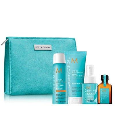 Комплект за тъмна коса с ПОДАРЪК несесер Moroccanoil Style Travel Kit