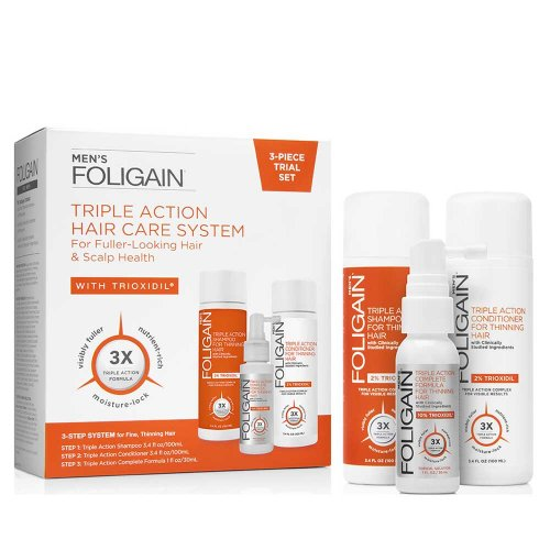 Терапия против косопад за мъже с Триоксидил 10% Foligain Triple Action Hair Care System Mens