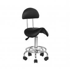 Козметичен стол седло с облегалка черен