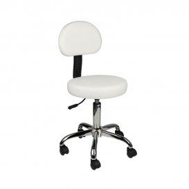 Козметичен стол с облегалка бял AM-9934